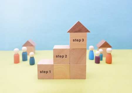 STEP11,2,3と書かれた積み木
